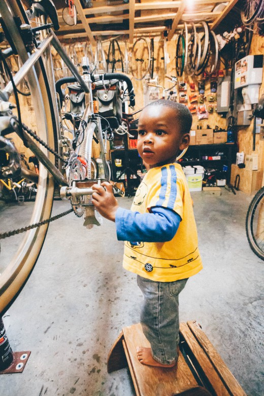 A mechanic in training at Wyse cycles